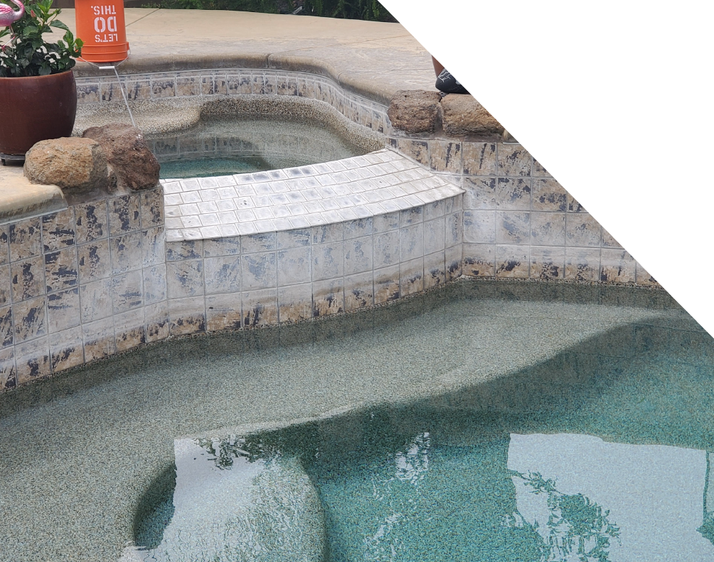 Dirty pool tile with calcium residue and stains